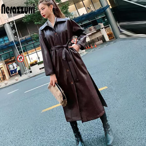 Nerazzurri Autumn long leather trench coat for women long sleeve belt button faux leather raincoat women plus size fashion 200930