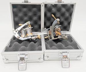 2Pcs Silver Cast Iron Tattoo Machines Gun 8Coils With 2Pcs Aluminium Alloy Case