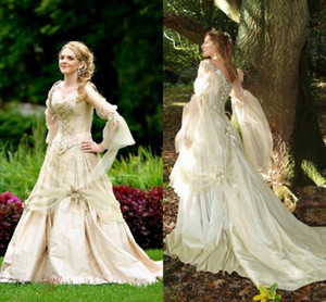 Vintage Gothic Wedding Dresses Princess Corset Back Long Sleeve Country Garden Wedding Dress Celtic Renaissance Cosplay Boho Bridal Gowns