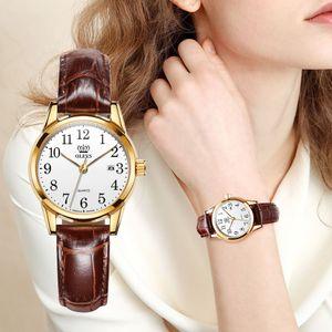 Olevs para mujer Relojes de primeras marcas de moda de lujo vestido de cuero genuino Brown reloj impermeable casual para dama 5566