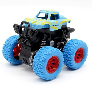 Blue children's inertial car mini toy children's Truck Toy rear pull car friction charging big wheel model