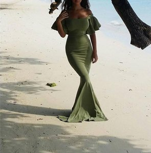 Elegant Olive Mermaid Evening Dresses Off The Shoulder Short Sleeve Prom Dresses 2020 Plus Size Formal Party Arabic Evening Gown