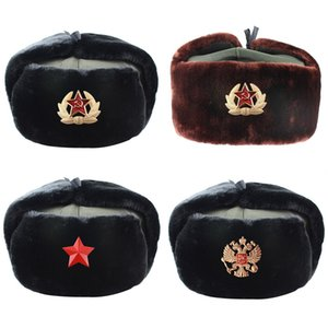 2020 New Russian Army Military Pilot Police Hat Winter Snow Cap with Earmuffs Ski Warm Thick Hats for Men