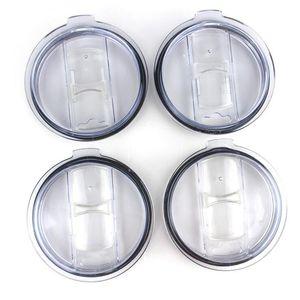 Transparent Plastic Cups Lid Sliding Switch Cover Drinkware Lid for 20 30 oz Cars Beer Mugs Splash Spill Proof NWA595