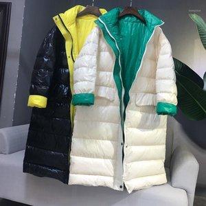 New Women Ultra Light Down Jacket Autumn Winter Warm White Duck Down Parkas Coat Female Fashion Loose Long Jacket Outwear SF21271