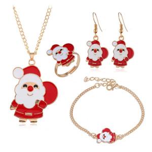 Pendientes de las decoraciones de Navidad regalo de Navidad Serie de Santa Claus Elk Parte festiva de la Navidad Alarma pulsera multi-pieza collar de