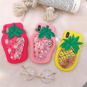 Hot Sale 3D Cartoon Fruit Shining Star Dynamic Liquid Quicksand Phone Case for iPhone 11 Cute Girls Lanyard Cover for iPhone 6 7 8 XS X XR