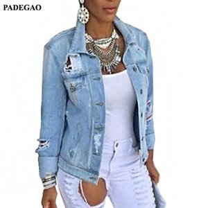 PADEGAO Women Denim Jacket Coat Long Sleeves Jeans Jackets Lapel Tops Pocket Single Breasted Casual Outerwear Coat PDG122