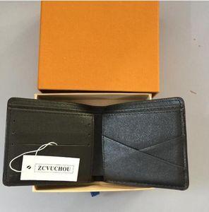 2019 Nuevo bolso Envío gratis Billfold Patrón de Plaid Plaid de alta calidad Mujeres Wallet Hombres Pures Billetera de diseño de alta gama con caja