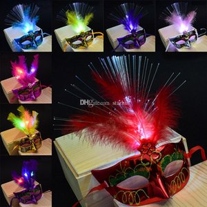 12 Masquerade LED Gift Gras Masks Flash Glowing Venetian Masks Mardi Party Costumes Cosplay Feather Mask Halloween Color Halloween WX9- Kiks