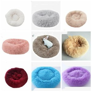 Round Bed Kennel Long Plush Super Soft Comfortable Sleeping Cusion Winter House for Cat Warm Dog beds Pet Products LXL1071-1