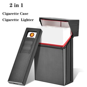 Zigarettenetui Feuerzeug Abnehmbare USB Wiederaufladbare Zigarettenetui-Feuerzeug Tragbare Integrierte Winddichte Zigarettenanzünder Freies Verschiffen