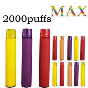 2000 Puffs Max Max-Einweg-Vape-Stifte Pods Vorgefüllte Zerstäuber 1200mAh-Vape-Stift Max größere Puffs VAPE-Kassettenverpackungen leeres Maß gemacht