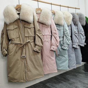 Large Real Natural Fur 2020 New Winter Coat Women Thick Puffer Jackets White Duck Down Parkas Female Loose Warm Coat Outwear