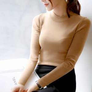 FEKEHA Autumn Winter Women Pullovers Sweater Knitted Elasticity Jumper Slim Half Turtleneck Warm Female White Black Sweaters 201008