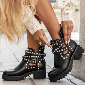 Rivet 2021 Women's Autumn Boots Handcrafted outdoor platform Shoes pure color fashion Knight Comfort plus 41 Women Shoes