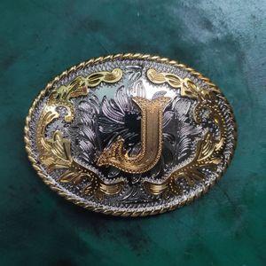 4cm Genişliği Kayışlar Buckle İçin Uygun 1 Adet Batı Kovboy Teksas Altın J Harf kemer tokası