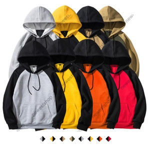 Novo Moda Mens Designer Outono Inverno 2020 Europeu Streetwear Mens Solto Sweater Patchwork Cor Hooded Moleton