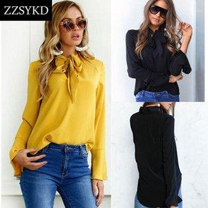 Zzsykd 2018 новая женская рубашка blusa feminina белая шифон блузка длинные рукава блузка женские топы и блузки сексуальная женская одежда1