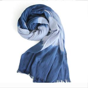 Luxury-Designer New Spring Summer Autumn Cotton Striped Unisex Warm Scarf Ethnic Wind Gradient Color Travel Sunscreen Simple Versatile
