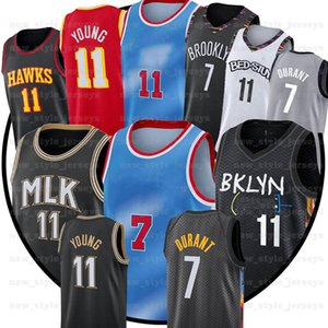 7 Kevin 11 NCAA Kyrie Durant Irving Trae 11 Young 2021 Blue City Basketball Jerseys