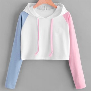 Women Hoodies Sweatshirts Girls Pink Blue Sleeve Crop Top Short Blouse Pullover Hoodie Sweatshirt 0912 Drop Shipping