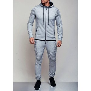 New Men's outdoor sports casual sweater solid color cardigan jacket set.