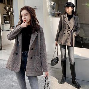 Karolyidora Houndstooth Woolen Coat Woolen Donne 2021 Abbigliamento invernale Nuovo prodotto Prodotto coreano spessore popolare di lana