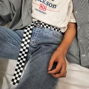 Foxmother 2020 weiblich Leinwand Taillengürtel Schachbrett beiläufige Checkered Bund Schwarz Weiß Plaid Gürtel für Frauen