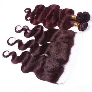 바디 웨이브 # 99J 와인 레드 3Bundles Peruvian Hair Lace 정면 4pcs 롯트 버건디 전체 정면 13x4 레이스 폐쇄 버진 헤어 짜기