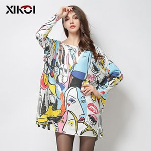 XIKOI Autumn New Oversize Knitted Sweater Women Pullover Long Pull Femme Winter Fashion Ladies Print Sesy Slash Neck Top sweter 201008