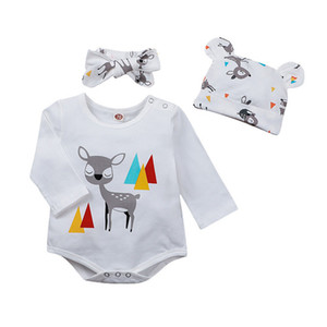 Stylish Baby Deer Triangle Rompers+Hat Set Fall 2020 Kids Boutique Clothing 0-24m Infant Toddlers Boys Girls Cotton Onesies