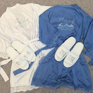 Пользовательские имя кружево сатин Кимоно одежды персонализированная Свадебной партии сестра Мать невеста Robe BRIDESMAID подарок тапочки