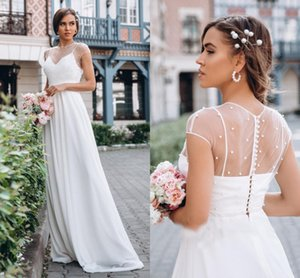 Pearls Boho Simple Wedding Dresses 2021 Newest Short Sleeves A Line Beach Garden robes de mariée Sheer Top Sweep Train Bridal Gowns AL8260