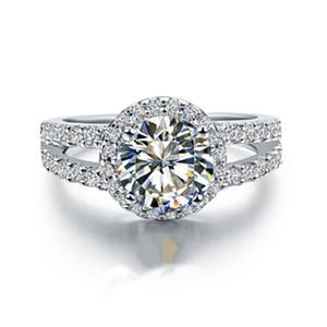 Подлинная 925 Серебряная Юбилейное кольцо Женский 2 CT Отличный Круглый Halo I-J Цвет NSCD Симулированный Алмаз Обручальное кольцо для женщин
