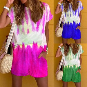 Tie Dye Summer Womens Tracksuit O Neck Manica Corta Two Piece Set per donna Casual Stampato Ladies 2pcs Autuits