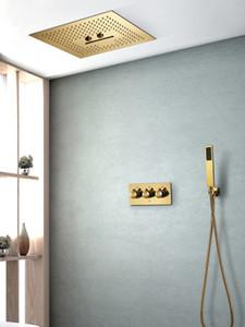 Luxury doccia Ti-PVD Oro Colore sistemi a pioggia soffione a soffitto Bagno Doccia calda Valvola freddo Ottone