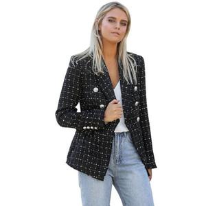 Liva girl 2020 Autumn Winter Fashion Plaid Blazers Women Single Breasted Female Outerwear Ladies Jackets blazer feminino