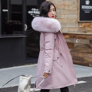 Womens Winter Warm Parka Long Jacket Thicken Faux fur Collar Parkas Coat Female 2020 Embroidery Military Solid Parkas Woman