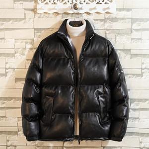 de Couro New Style Outono Inverno Parka Men algodão acolchoado Jacket Moda soltas gola Brasão PU Leather Jackets algodão