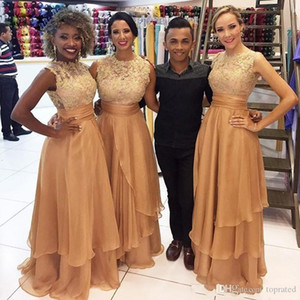 2020 Custom Made Gold Long Bridesmaid Dresses Jewel Neck Sleeveless Lace Appliques Tiered Skirt Prom Gown Long Party Dress