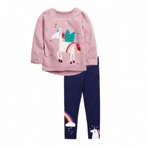 VIDMID девочек хлопка одежды набор детей мультфильм футболку и штаны новорожденных девочек с длинным рукавом одежды костюмы детская одежда наборы qTRi #