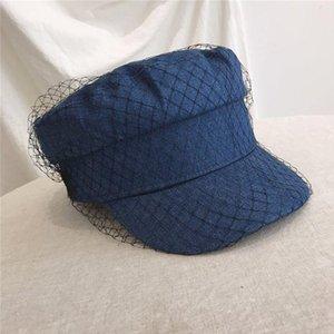 British Style Retro Denim piatto Beret Cap con Mesh Velo Donne Girl Sun Protection visiera Button Painter Hat Navy elegante