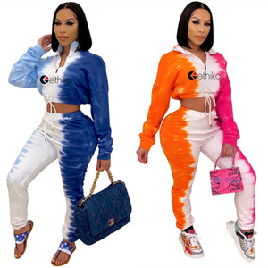 Women Two Piece Clothing Sets Tie Dye Printing Two Color Crop Tops Legging Pants Tracksuit Long Sleeve Zip Neck High Collar Outfit D102601