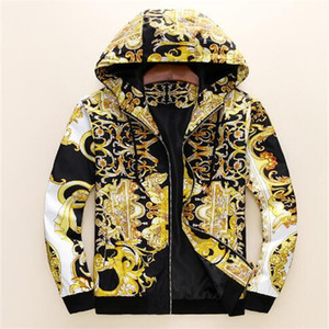 Новая мода дизайнер мужчин куртка ветровка с длинным рукавом мужские цветочные куртки с капюшоном одежда zippe вверх по верхней одежде пальто плюс одежда
