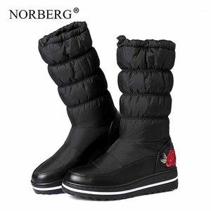 NORBERG Moda Deri Aşağı Kadın Çizmeler Kış Yüksek Topuklu Sıcak Derin Tüp Siyah Kış Çizmeler Kar Yabani Casual Shoes1