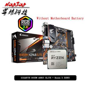 AMD RYZEN 5 3500X R5 3500X CPU + GA B450M Aorus Elite Motherboard Suit Socket AM4 Tudo novo, mas sem mais fresco