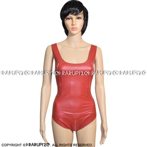 Plum Red Sexy Sleeveless Latex Swimsuit With Breasts And Crotch Zipper Rubber Body Suit Catsuit Bodysuit Zentai 0208