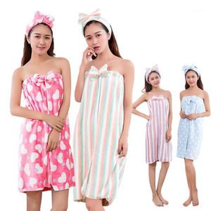 Butterfly Knot Bath Towel With Headband Set Flannel Super Absorbent Soft Wearable Towel Nightwear Bath Skirt Spa Beach Towels1