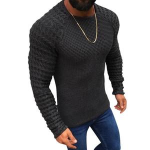 Casual Vogue agradável Men Casual pescoço Pullover Camisolas Outono Inverno Slim Fit manga comprida Cabo Tricô pulôver